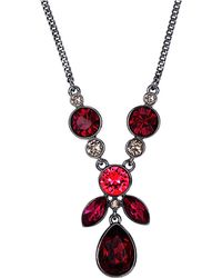 Givenchy Light Hematite-tone and Mixed Red Stone Pendant Necklace - Lyst