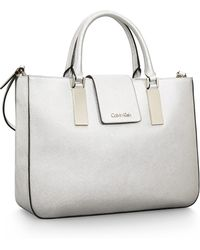Calvin Klein White Label Scarlett Textured Leather Triple Compartment Tote Bag - Lyst