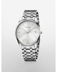 Calvin Klein Time Stainless Steel Silver Dial Watch - Lyst
