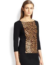 St. John Milano Calf-Hair Panel Sweater - Lyst