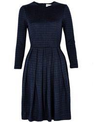 Ganni Elasticated Waist Check Dress - Lyst