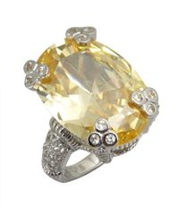 Judith Ripka Canary Crystal And White Sapphire Large Oval 'Olivia' Ring gold - Lyst