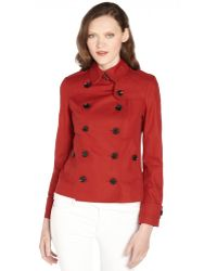 Burberry Military Red Cotton Double Breasted Coat - Lyst