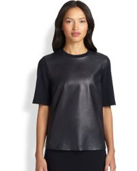 Akris Punto Leather-Front Shirt - Lyst