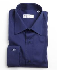 Saint Laurent Navy Cotton Point Collar Dress Shirt - Lyst