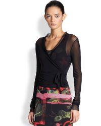 Jean Paul Gaultier Tulle Mesh-trim Wrap Shirt - Lyst