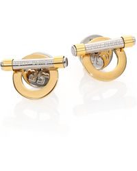 Tory Burch Two-Tone Toggle Stud Earrings - Lyst