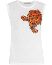 Christopher Kane Floral-Embroidered Tank white - Lyst