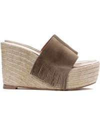 Chloé Fringe Wedge gray - Lyst
