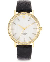 Kate Spade Metro Grand PavÉ Goldtone Stainless Steel & Saffiano Leather Strap Watch - Lyst