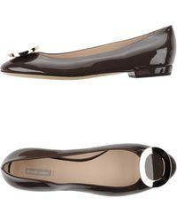 Giorgio Armani Ballet Flats brown - Lyst