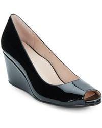 Taryn Rose Kimberly Patent Leather Peep-Toe Wedges - Lyst