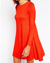 Asos Swing Dress With Long Sleeves And Seam Detail - Lyst