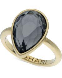 T Tahari - Gold-Tone Mixed Jewels Pear Stone Ring - Lyst