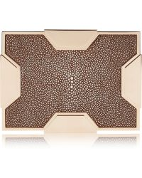 Lee Savage - Space Large Rose Gold-tone and Stingray Box Clutch - Lyst
