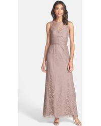 Amsale Illusion Yoke Lace Gown - Lyst