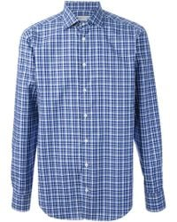 Etro Blue Checked Shirt - Lyst
