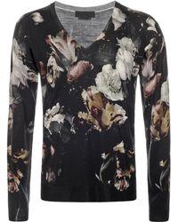 Alexander McQueen Mens Flower Print Wool-blend Jumper - Lyst