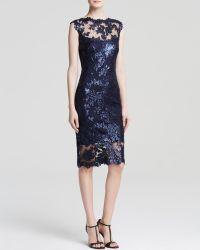 Tadashi Shoji Dress - Sleeveless Sequin Lace Illusion Yoke Sheath - Lyst