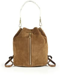 Elizabeth and James | Cynnie Sling Suede & Python-embossed Leather Backpack | Lyst