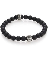 King Baby Studio Onyx & Silver Feather Beaded Bracelet black - Lyst