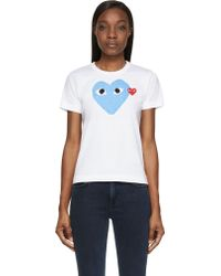 Play Comme des Garçons White And Blue Heart T_Shirt - Lyst