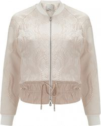 3.1 Phillip Lim Cloque Bomber With Drawstring Cinched Hem white - Lyst