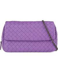Bottega Veneta Intrecciato Nappa-Leather Messenger Bag - For Women purple - Lyst