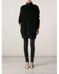 Alexander McQueen Textured Cocoon Coat - Lyst