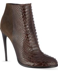 Haider Ackermann Lamington Snakeskin Stiletto Ankle Boots Brown - Lyst