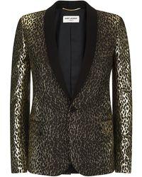 Saint Laurent Jacquard Leopard Jacket - Lyst
