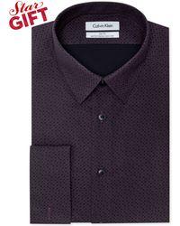 Calvin Klein Steel Non-iron Slim-fit Wine Print Performance Dress Shirt - Lyst