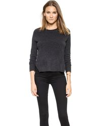 J Brand Eugenia Cashmere Sweater  Charcoal Heather - Lyst
