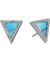 Michael Kors Semiprecious Rose Gold & Blush Acetate Pave Stud Earring - Lyst