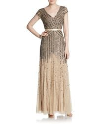 Adrianna Papell Embellished Cap Sleeve Gown - Lyst