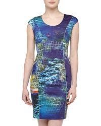 Rachel Roy Capsleeve Graphicprint Stretchknit Corset Dress - Lyst