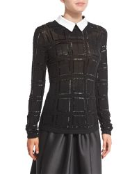 Carmen Marc Valvo   Plaid Beaded Sweater W/ White Collar   Lyst