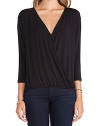 Amour Vert Amelia Crossover Blouse - Lyst