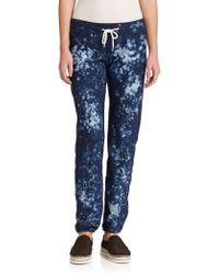 Monrow Printed Drawstring Sweatpants blue - Lyst