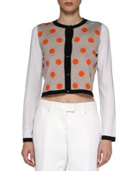 Fendi Dotted Cropped Knit Cardigan brown - Lyst
