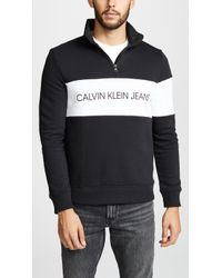 Calvin Klein - Jeans Logo Half Zip Sweatshirt Black - Lyst