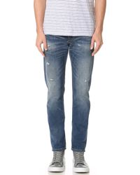 Club Monaco - Distressed Slim Jeans - Lyst