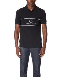 Fred Perry - Panel Piped Polo Shirt - Lyst