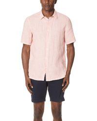 Theory - Irving Short Sleeve Summer Linen Shirting - Lyst
