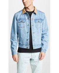 Saturdays NYC - Emil Leather Collar Denim Jacket - Lyst