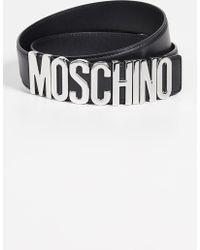 cf2f1e731fe Moschino - Silver Logo Buckle Belt - Lyst