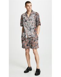 3.1 Phillip Lim - Cuffed Pleated Printed Shorts With Twist Belt - Lyst