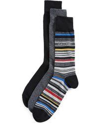 CALVIN KLEIN 205W39NYC - 3 Pack Solid & Stripe Crew Socks - Lyst