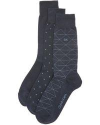 Calvin Klein - 3 Pack Geometric Crew Socks - Lyst