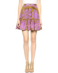 Cynthia Rowley Ruffle Bottom Skirt Goldlilac - Lyst